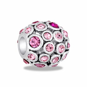 Davinci Beads Pink CZ Antiqued Globe