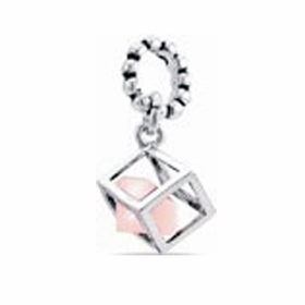 Davinci Beads Pink CZ Box Dangle