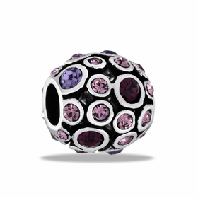 Davinci Beads Purple CZ Antiqued Globe