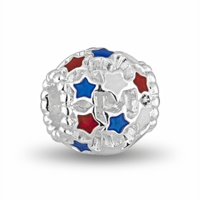 Davinci Beads Red & Blue Stars Patriotic Crystal