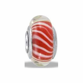 Davinci Beads Red Stripe