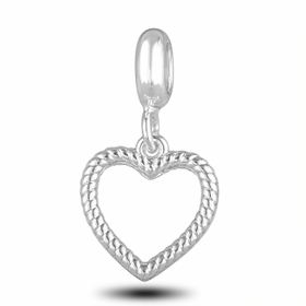 Davinci Beads Ribbed Heart Photo Dangle