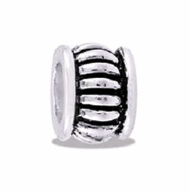 Davinci Beads Ribbed Silver