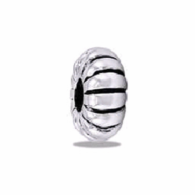 Davinci Beads Ribbed Stopper Silver