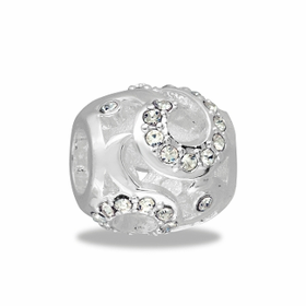 Davinci Beads Silver and Crystal Swirl Decorative
