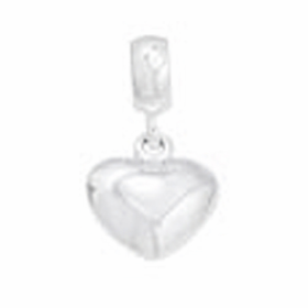 Davinci Beads Silver Puff Heart Dangle