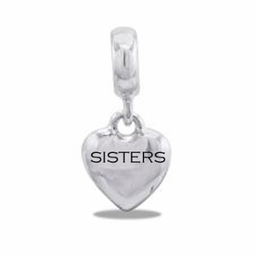 "Davinci Beads ""Sisters"" Silver Heart Dangle"