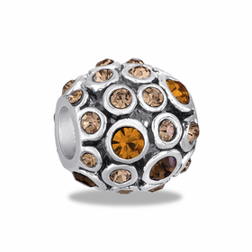 Davinci Beads Topaz CZ Antiqued Globe