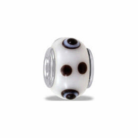 Davinci Beads White and Brown Dots