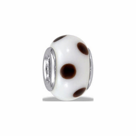 Davinci Beads White Brown Dots