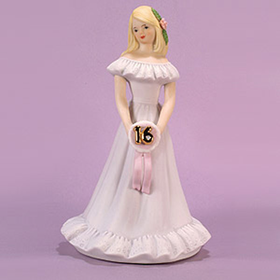 Growing up Girl Blonde Age 16 Musical Figurine