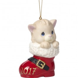 �Have A Pawsitively Soleful Christmas� Dated 2017, Bisque Porcelain Ornament, Cat