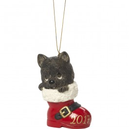 �Have A Pawsitively Soleful Christmas� Dated 2017, Bisque Porcelain Ornament, Dog
