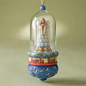 HEARTWOOD CREEK BY JIM SHORE ANGEL GLASS DOME HANGING ORNAMENT