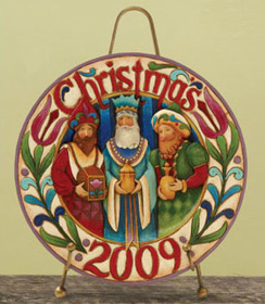 HEARTWOOD CREEK BY JIM SHORE DATED 2009 THE THREE WISEMEN DECORATIVE PLATE WITH STAND