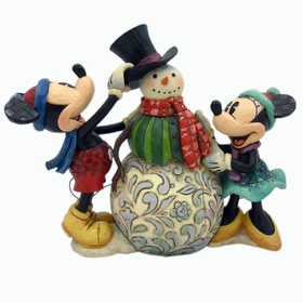 HEARTWOOD CREEK BY JIM SHORE DISNEY TRADITIONS MICKEY AND MINNIE BUILDING SNOWMAN