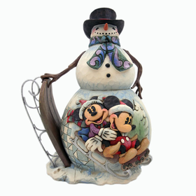HEARTWOOD CREEK BY JIM SHORE DISNEY TRADITIONS MICKEY AND MINNIE SNOWMAN WITH SLED
