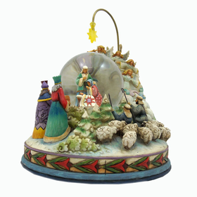 HEARTWOOD CREEK BY JIM SHORE LIGHTED NATIVITY/REVOLVING MUSICAL WATER GLOBE