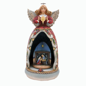 HEARTWOOD CREEK BY JIM SHORE MUSICAL ANGEL WITH LIGHTED REVOLVING NATIVITY