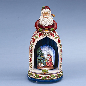 HEARTWOOD CREEK BY JIM SHORE MUSICAL SANTA WITH LIGHTED REVOLVING CHRISTMAS SCENE