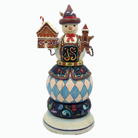 HEARTWOOD CREEK BY JIM SHORE MUSICAL SNOWMAN WITH GINGERBREAD HOUSE AND MAN