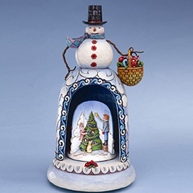 HEARTWOOD CREEK BY JIM SHORE MUSICAL SNOWMAN WITH LIGHTED REVOLVING WINTER SCENE