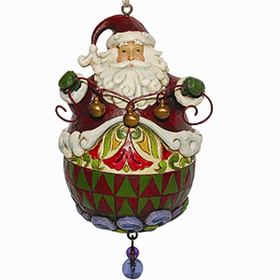 HEARTWOOD CREEK BY JIM SHORE ROLY SANTA WITH STRING OF BELLS ORNAMENT