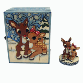 HEARTWOOD CREEK BY JIM SHORE RUDOLPH THE RED-NOSED REINDEER AND CLARICE ORNAMENT WITH KEEPSAKE BOX
