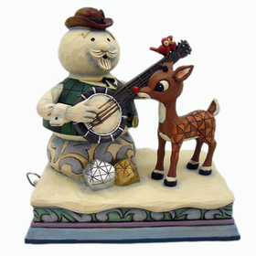 HEARTWOOD CREEK BY JIM SHORE RUDOLPH THE RED-NOSED REINDEER AND SAM THE SNOWMAN MUSICAL FIGURINE