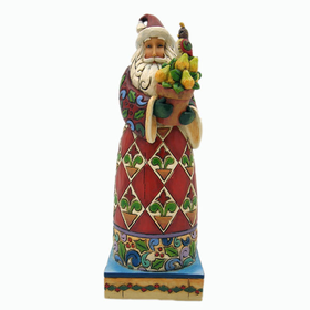 HEARTWOOD CREEK BY JIM SHORE SMALL SANTA WITH PARTRIDGE IN A PEAR TREE