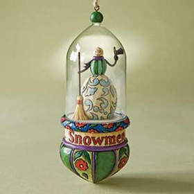 HEARTWOOD CREEK BY JIM SHORE SNOWMAN GLASS DOME HANGING ORNAMENT