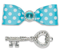 Locker Lookz Aqua and White dots bow and Jeweled Key Magnet Set