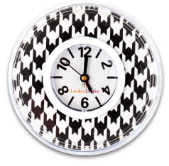 Locker Lookz Black and White Houndstooth Clock
