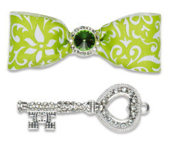 Locker Lookz Lime White Damask Bow and Jeweled Key Magnet Set