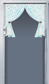 Locker Lookz White and Aqua Scroll Curtains