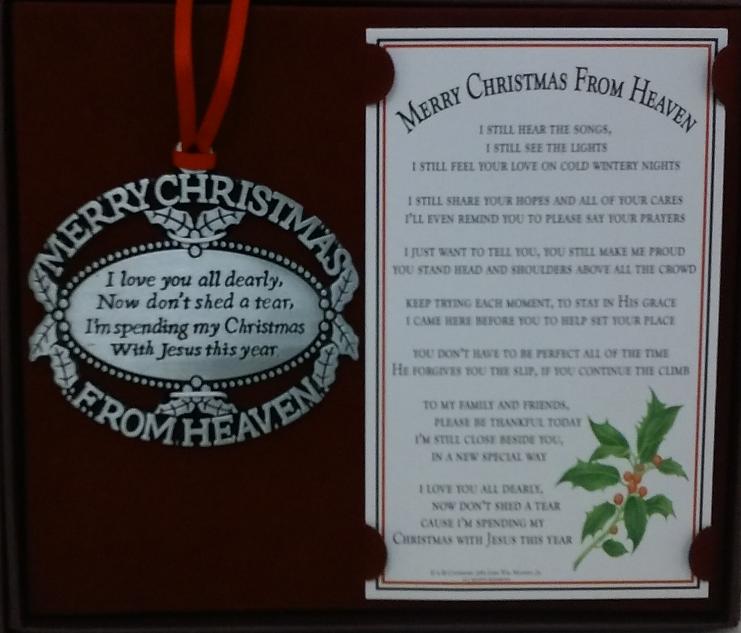 Merry Christmas From Heaven Pewter Ornament
