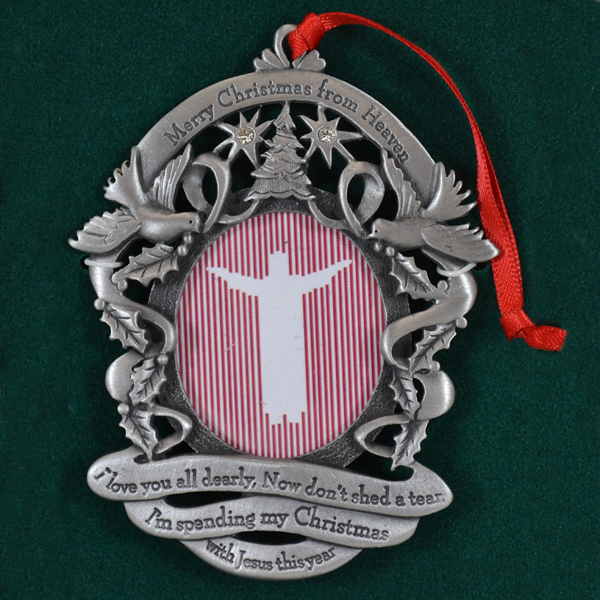 merry christmas from heaven remembrance picture holder pewter ornament