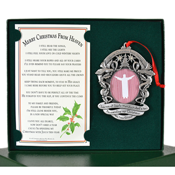 - Merry Christmas From Heaven Remembrance Picture Holder Pewter Ornament