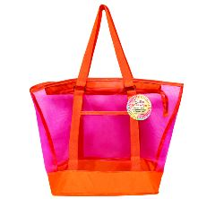 Mesh Summer Tote Bag Pink