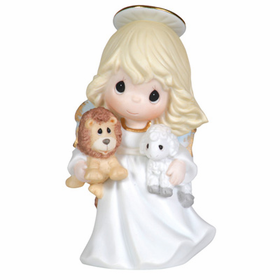 Precious Moments Angel Holding Lion and Lamb Figurine