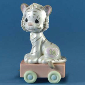 Precious Moments Birthday Train Age 16 White Tiger Sixteen and Feline Fine