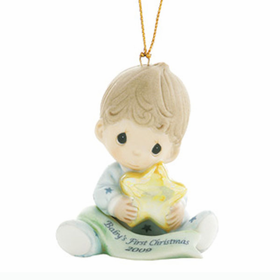 PRECIOUS MOMENTS CHRISTMAS:  BABY BOY'S FIRST CHRISTMAS - DATED 2009 ORNAMENT