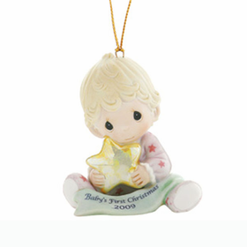 PRECIOUS MOMENTS CHRISTMAS:  BABY GIRL'S FIRST CHRISTMAS - DATED 2009 ORNAMENT