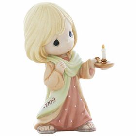 PRECIOUS MOMENTS CHRISTMAS:  MAY YOUR FAITH LIGHT THE WAY - DATED 2009 FIGURINE