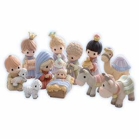 Precious Moments: Come Let Us Adore Him- 11 Piece Miniature Nativity Set