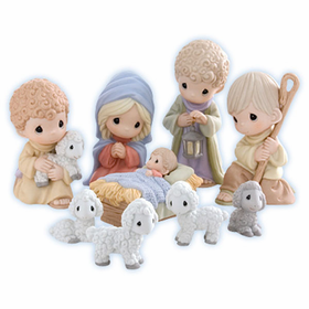 Precious Moments: Come Let Us Adore Him- 9 Piece Nativity Set