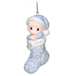 Precious Moments Dated 2014 Baby Boy First Christmas Ornament
