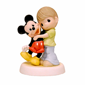 Precious Moments Disney:  Boy with Mickey Mouse Figurine