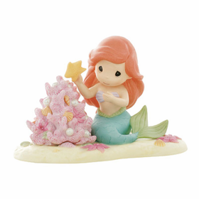 PRECIOUS MOMENTS DISNEY CHRISTMAS ARIEL WITH CORAL CHRISTMAS TREE:  THE CHRISTMAS SPIRIT IS A PART OF MY WORLD