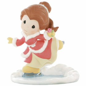 PRECIOUS MOMENTS DISNEY CHRISTMAS BELLE FIGURE SKATING:  YOUR BEAUTIFUL HEART WARMS THE COLDEST DAYS